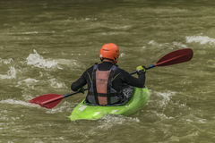 Kayaks on river Dunajec with male Royalty Free Stock Photography