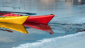 Kayaks on the river ice, boat detail Royalty Free Stock Images