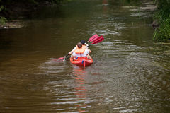 Kayaks on the river, People boating on river Stock Images