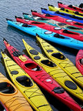 Kayaks in a row. Multi-colored Kayaks Royalty Free Stock Photo
