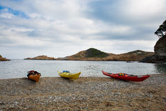 Kayaks in Sa Tuna beach in Begur, Spain Stock Photography