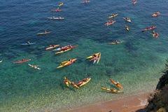 Kayaks at sea Royalty Free Stock Image
