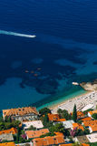 Kayaks at sea. Tourist kayaking in the sea near Dubrovnik, Croat Stock Images