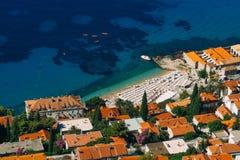 Kayaks at sea. Tourist kayaking in the sea near Dubrovnik, Croat Royalty Free Stock Photo