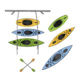 Kayaks set vector illustration