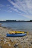 Kayaks on the shore Royalty Free Stock Photos
