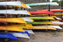 Kayaks in stack Royalty Free Stock Images