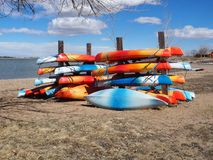 Kayaks in storage Royalty Free Stock Images