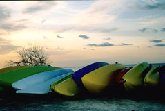 Kayaks At Sunrise Royalty Free Stock Images