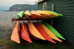 Kayaks on their Sides Royalty Free Stock Photo