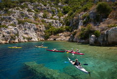 Kayaks in transparent water of Mediterranean sea Royalty Free Stock Photo