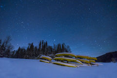 Kayaks in Winter Night Stock Photography