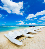 Kayaks at Wolmar beach. Mauritius Royalty Free Stock Photos