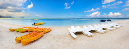 Kayaks at Wolmar beach. Mauritius Stock Image
