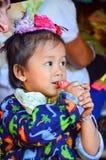 Kayan girl in a long-neck hill village in Thailand. PAI, THAILAND - NOV 23, 2016: Kayan girl in a Long-necked Ban Huay Pa Rai Hill Tribe Village near Pai stock photography