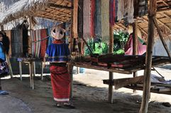 Kayan Lahwi long neck village sales booth. Thailand Kayan Lahwi selling booth Royalty Free Stock Photography