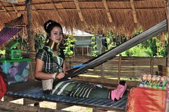 Kayan Lahwi long neck village. Thailand Kayan Lahwi stretched long neck Stock Image