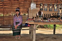 Kayan Lahwi long neck village. Thailand Kayan Lahwi stretched long neck Royalty Free Stock Photography