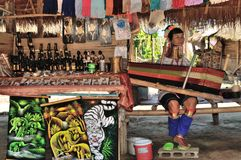 Kayan Lahwi long neck village. Thailand Kayan Lahwi stretched long neck Stock Photo