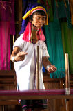 A Kayan Lahwi oldest woman is spinning. Stock Photography