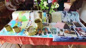 Kayan Lahwi Tribe, Inle Lake. Inle Lake, Myanmar-20 December, 2015. Information display about Kayan Lahwi tribe in handicraft shop of Kayan people on December 20 stock video