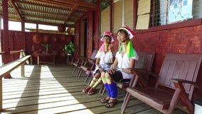Kayan Lahwi tribe women, Inle lake stock footage