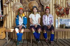 Kayan Lahwi women. At the village of Nan Pan, Lake INle, Shan State, Myanmar. The Kayan is a subgroup of Red Karen, Tibeto-Burman minority of Burma. Kayan Lahwi Royalty Free Stock Photo