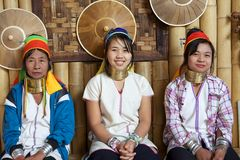 Kayan Lahwi women. At the village of Nan Pan, Lake INle, Shan State, Myanmar. The Kayan is a subgroup of Red Karen, Tibeto-Burman minority of Burma. Kayan Lahwi Stock Photography