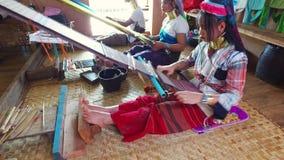 Kayan Lahwi women weaving, Inle Lake stock video footage