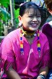 Kayan woman in Thailand hill village. PAI, THAILAND - NOV 23, 2016: Kayan woman in the Long-necked Ban Huay Pa Rai Hill Tribe Village near Pai, Thailand stock photos