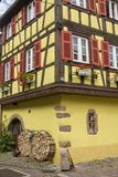 French traditional half-timbered houses in Kayserberg village in Alsace, royalty free stock photos