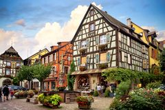 KAYSEREBERG: One of the most beautiful villages of France, Alsace royalty free stock images