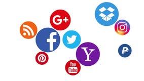 Kazán, Rusia - 22 de agosto de 2017: Animación de los logotipos sociales populares de los medios ilustración del vector