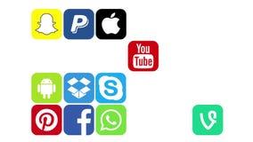 Kazán, Rusia - 29 de julio de 2017: Animación de aparecer de los logotipos sociales populares de los medios