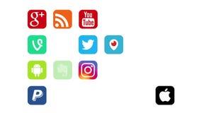 Kazán, Rusia - 12 de julio de 2017: Animación de los logotipos sociales populares de los medios