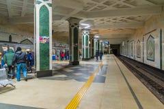 Kazán, Rusia - 25 de marzo 2017 Interior del cuadrado de Tukaya de la estación de metro Foto de archivo libre de regalías