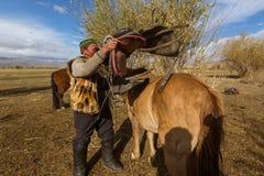 Kazach Berkutchi Eagle myśliwy robi comberu konia Zdjęcie Stock