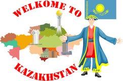 Kazach narodowości mężczyzna w tradycyjnej sukni Obraz Stock