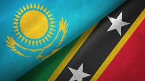 Kazachstan, święty i dwa flagi tekstylny płótno, tkaniny tekstura royalty ilustracja