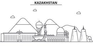 Kazachstan architektury linii linii horyzontu ilustracja Liniowy wektorowy pejzaż miejski z sławnymi punktami zwrotnymi, miasto w Obrazy Stock