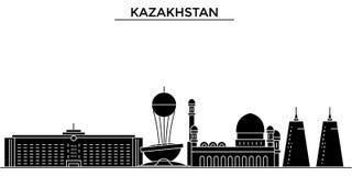 Kazachstan architektury miasta wektorowa linia horyzontu, podróż pejzaż miejski z punktami zwrotnymi, budynki, odosobneni widoki  Obraz Stock