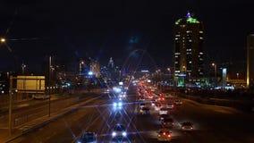 Kazachstan, Astana Listopad 2016 tej nocy deszcz śnieg ruchu zdjęcie wideo