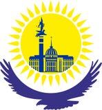 kazachstan De adelaar, onder de gele zon De zon met de gebouwen van het kapitaal, vector Stock Foto's