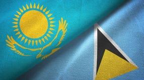 Kazachstan Lucia i święty dwa flagi tekstylny płótno, tkaniny tekstura ilustracja wektor