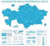 Kazachstan mapa - Ewidencyjna Graficzna Wektorowa ilustracja Obrazy Stock