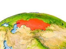 Kazachstan op model van Aarde Stock Fotografie