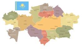 Kazachstan - rocznik flaga i mapa - Szczegółowa Wektorowa ilustracja Obraz Royalty Free