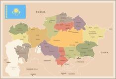 Kazachstan - rocznik flaga i mapa - Szczegółowa Wektorowa ilustracja Zdjęcia Stock