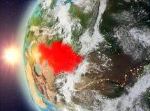 Kazachstan tijdens zonsondergang van ruimte Stock Afbeeldingen