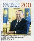 KAZACHSTAN - 2015: toont Nursultan Abishuly Nazarbayev geboren 1940, politicus Royalty-vrije Stock Foto